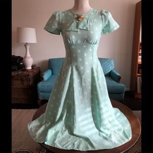 "NWT Hell Bunny Vixen ""Madden"" Polka Dot Mint Dress"